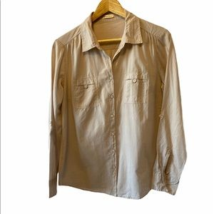 RARE EARTH Taupe Button Up LightWeight Blouse 10